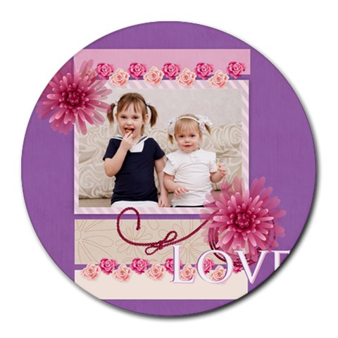 Love By Joely   Collage Round Mousepad   507z1v1j0ys5   Www Artscow Com 8 x8 Round Mousepad - 1