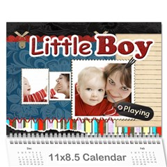 Little Boy , Playing By Joely   Wall Calendar 11  X 8 5  (12 Months)   Hpztegg8ly74   Www Artscow Com Cover