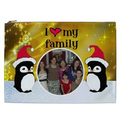 Penguin I Love My Family Cosmetic Bag (xxl) By Kim Blair   Cosmetic Bag (xxl)   T5yp663bsjq0   Www Artscow Com Front