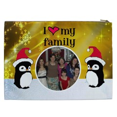 Penguin I Love My Family Cosmetic Bag (xxl) By Kim Blair   Cosmetic Bag (xxl)   T5yp663bsjq0   Www Artscow Com Back