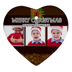 Merry Christmas, Happy New Year , Happy, Xmas By Clince   Heart Ornament (two Sides)   B3d3h45zewsx   Www Artscow Com Front