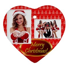 Merry Christmas, Happy New Year , Happy, Xmas By Clince   Heart Ornament (two Sides)   K0lhuxddlpjl   Www Artscow Com Back