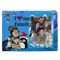 Penguin Family Cosmetic Bag (xxl) By Kim Blair   Cosmetic Bag (xxl)   Yj9go3g2frip   Www Artscow Com Back