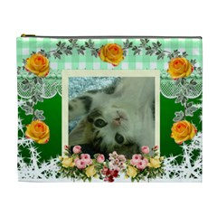 Green With Yellow Roses Cosmetic Bag (xl) By Kim Blair   Cosmetic Bag (xl)   Rrcf3euijqbo   Www Artscow Com Front