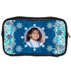 Blue Snowflake Manicure Bag (2 Sides) By Kim Blair   Toiletries Bag (two Sides)   Bwppr80oyxmm   Www Artscow Com Front