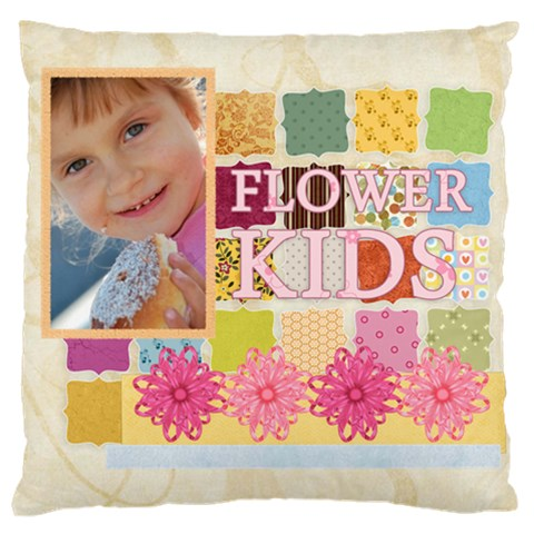 Flower Kids By Jo Jo   Large Cushion Case (one Side)   1ci0ly84438w   Www Artscow Com Front