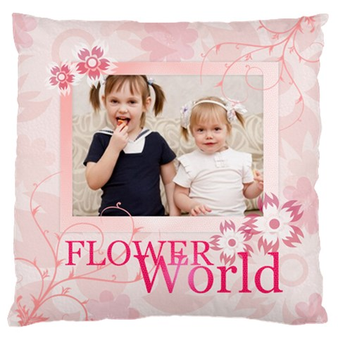 Flower Kids By Joely   Large Cushion Case (one Side)   F2h75wg3bqqn   Www Artscow Com Front