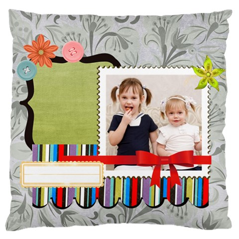 Flower Kids By Joely   Large Cushion Case (one Side)   N78spzc3mp4j   Www Artscow Com Front