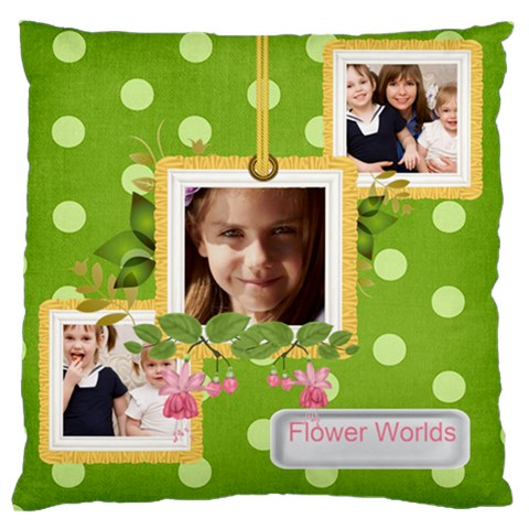 Flower Kids By Joely   Large Cushion Case (one Side)   19pandscd5f0   Www Artscow Com Front