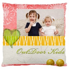 Flower Kids By Joely   Large Cushion Case (two Sides)   Puofy42x0k22   Www Artscow Com Front