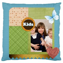 Flower Kids By Joely   Large Cushion Case (two Sides)   6zowb4x5ke6y   Www Artscow Com Back