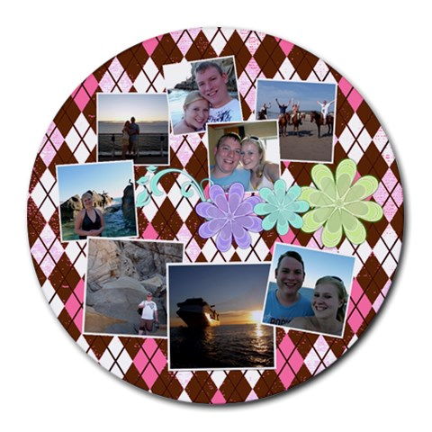 Flower Argyle By Digitalkeepsakes   Collage Round Mousepad   Waki1ni5ip9r   Www Artscow Com 8 x8 Round Mousepad - 1