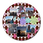 Flower Argyle - Collage Round Mousepad