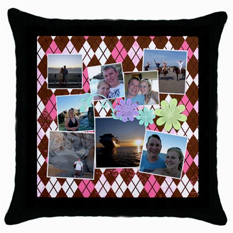 Argyle Flower By Digitalkeepsakes   Throw Pillow Case (black)   Jauhdyt1c0ds   Www Artscow Com Front