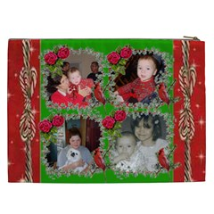 Red And Green With Ivy Frame Cosmetic Bag (xxl) By Kim Blair   Cosmetic Bag (xxl)   Z37okgxh6fx3   Www Artscow Com Back