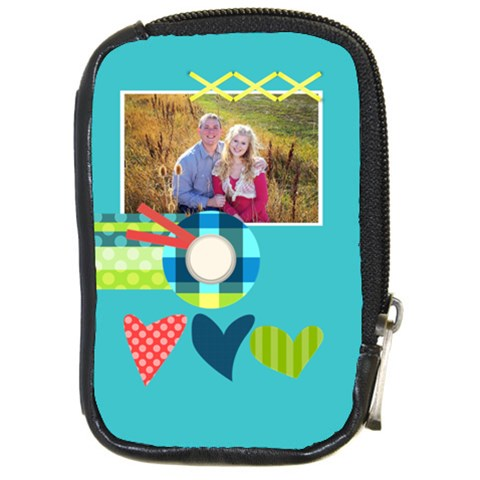 Playful Hearts By Digitalkeepsakes   Compact Camera Leather Case   22huckdpogmr   Www Artscow Com Front
