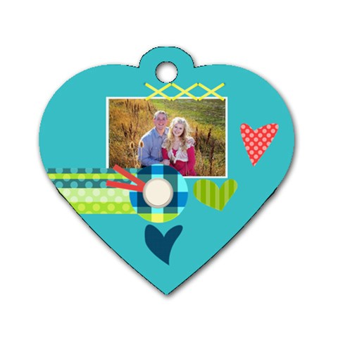 Playful Hearts By Digitalkeepsakes   Dog Tag Heart (one Side)   3ip74qzuavef   Www Artscow Com Front