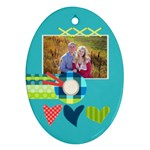 Playful Hearts - Oval Ornament (Two Sides)