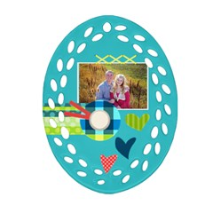 Playful Hearts By Digitalkeepsakes   Oval Filigree Ornament (two Sides)   Mpt076xfin4s   Www Artscow Com Front