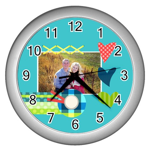 Playful Hearts By Digitalkeepsakes   Wall Clock (silver)   U7tnwwr96c10   Www Artscow Com Front
