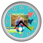 Playful Hearts - Wall Clock (Silver)