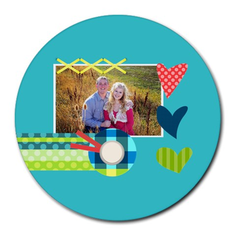 Playful Hearts By Digitalkeepsakes   Round Mousepad   Mllp1w6d05sb   Www Artscow Com Front