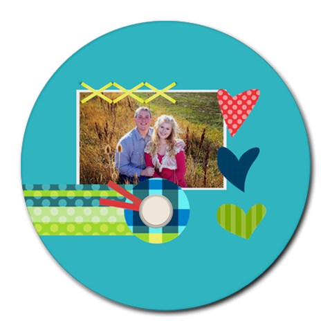 Playful Hearts By Digitalkeepsakes   Collage Round Mousepad   O2q5fmsgmaur   Www Artscow Com 8 x8 Round Mousepad - 1