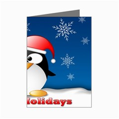 Happy Holidays Greeting Penguin Mini Greeting Card by DesignMonaco