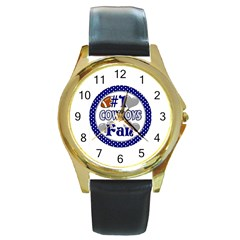 Cowboys Fan Round Gold Metal Watch by lextrading