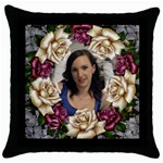 Roses and Lace Throw Pillow - Throw Pillow Case (Black)