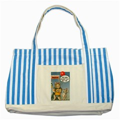 Wombat Woman Blue Striped Tote Bag