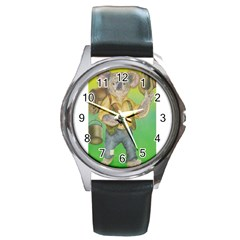 Green Gold Swaggie Black Leather Watch (round)