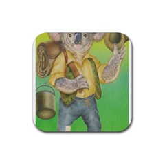 Green Gold Swaggie Rubber Drinks Coaster (square) by Koalasandkangasplus