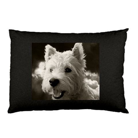 Westie Puppy Pillow Case Black By Lou   Pillow Case   N10myuk1uzo3   Www Artscow Com 26.62 x18.9 Pillow Case