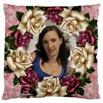 Roses and Lace 2 Large Cushion Case - Large Cushion Case (One Side)