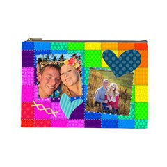 Rainbow Stitch By Digitalkeepsakes   Cosmetic Bag (large)   R4hx039q2uxt   Www Artscow Com Front