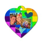 Stitched Quilted Rainbow - Dog Tag Heart (Two Sides)