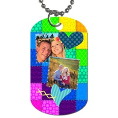 Stitched Quilted Rainbow By Digitalkeepsakes   Dog Tag (two Sides)   7ptnrk3160sj   Www Artscow Com Front