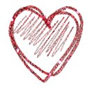 red glitter single heart