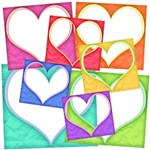 Colorful Matted Heart Frames