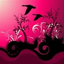 swirls hot pink background