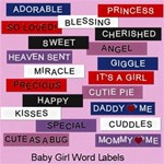 Baby Girl Word Labels