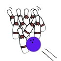 =ball hitting pins
