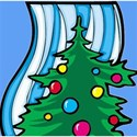 Christmas tree against blue stripe background