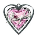 daughter word art pink heart necklace