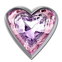 pinkpurple heart jewel in silver suround