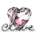 large heart jewel love word art