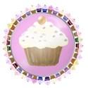 pink cupcake button