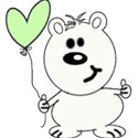 whitesmallvalentinebeargreenballoon