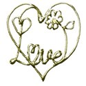 gold love word art with yellow flower center